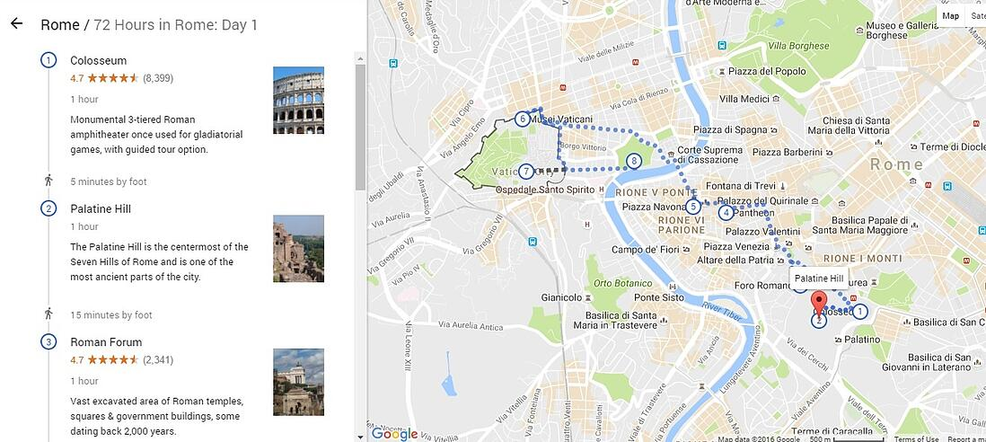 Google Destinations offers you different itineraries.