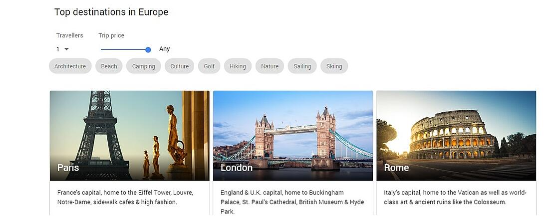 Google Destinations shows you different options.