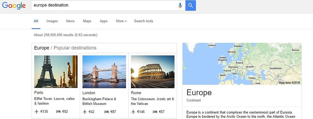 Search results on Google Destinations.