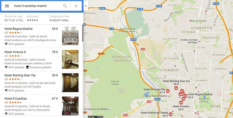The Google Maps tool shows information about business