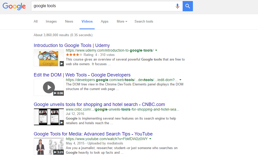 Google shows you videos about your search