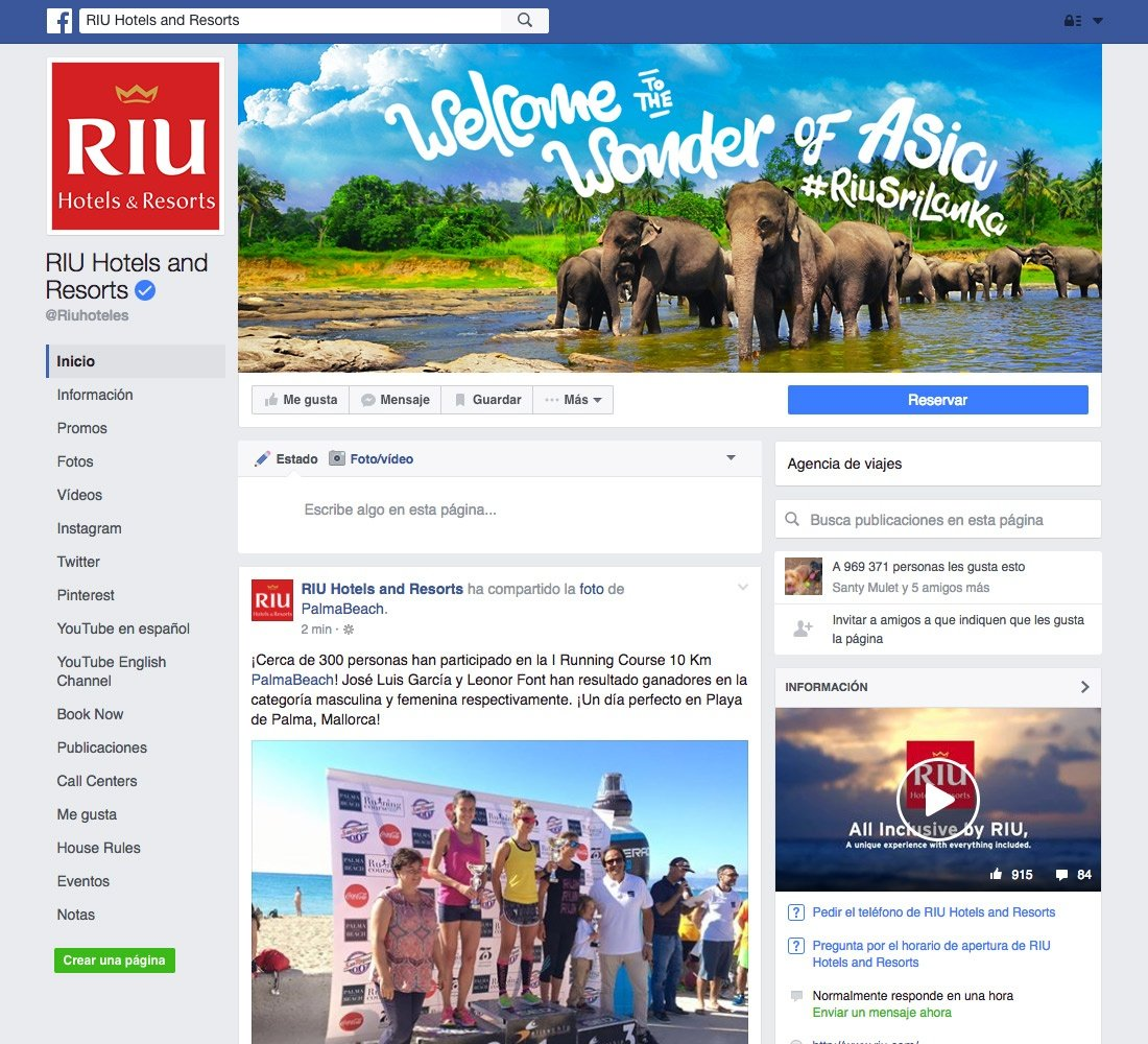 examples of social media - Facebook Riu