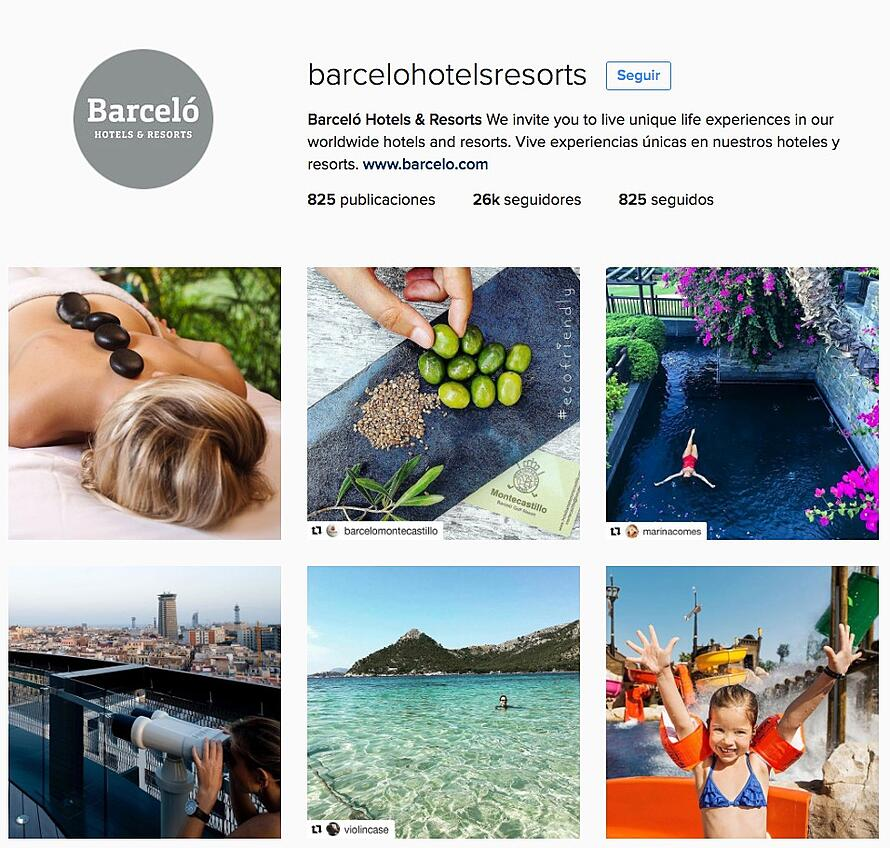 examples of social media - Instagram Barcelo