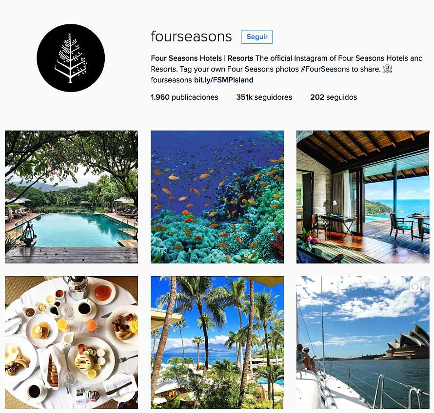 examples of social media - Instagram Four Seasons