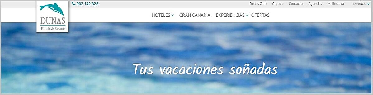 Optimized menu for the new Dunas Hotels & Resorts website.