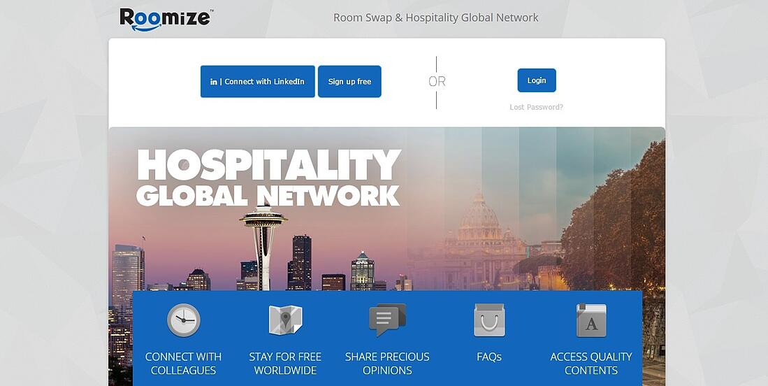 Roomize is an exclusive social network for hoteliers.